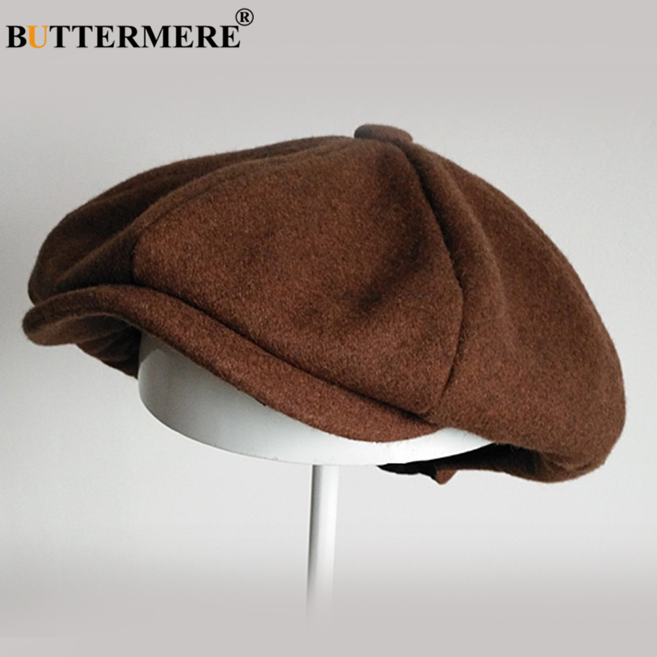 BUTTERMERE Tweed Flat Cap Men Dark Grey Newsboy Hats Male Autumn Solid Painter Hats Vintage British Gatsby Ivy Duckbill Hats in Men 39 s Fedoras from Apparel Accessories