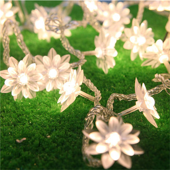 20 Led String Lights Battery Operated Christmas Fairy Lights Warm White Lotus Flower Decorative Indoor Outdoor Tree Party Patio