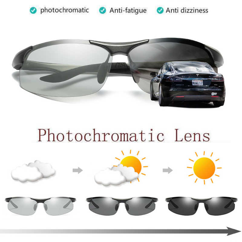 77cdd508f1 Aluminum magnesium Womens UV400 Polarized Photochromatic Sunglasses Outdoor  Driving Fishing Transition Chameleon Lens