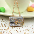 New Cute Rhinestone Purse handbag charm  Key chains Ring Fashion Metal Keychain Keyring Women Jewelry  PWK0146