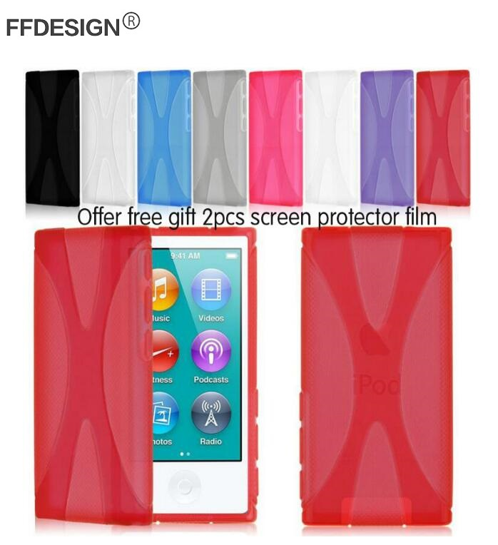 Slim Fitted Protective Candy Color Rubber Gel TPU Silicone Cover Case for Apple iPod Nano 7 Case + 2pcs Screen Film Foil