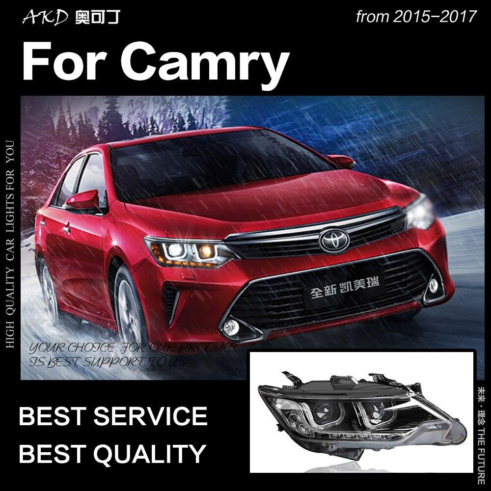 Akd Car Styling For Toyota Camry Headlights 2017 V55 Led Headlight Drl Hid Head Lamp Angel Eye Bi Xenon Accessories