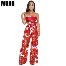 MUXU floral two piece set cropped top and pants women clothingwomen suits