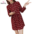 2016 Mori Girl Style Lolita Dress Long Sleeve Autumn Winter Plus Size Clothing Kawaii Red Blue Cute Floral Print Basic Vestidos