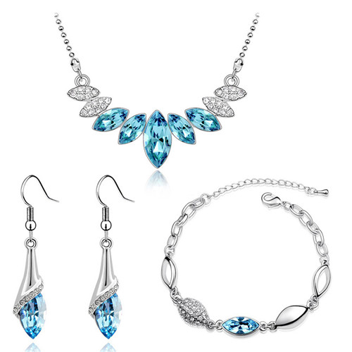 tiger totem Free Shipping bracelet necklace earrings Wedding Bridal party colorAustrian Crystal water drop Pendant Jewelry sets