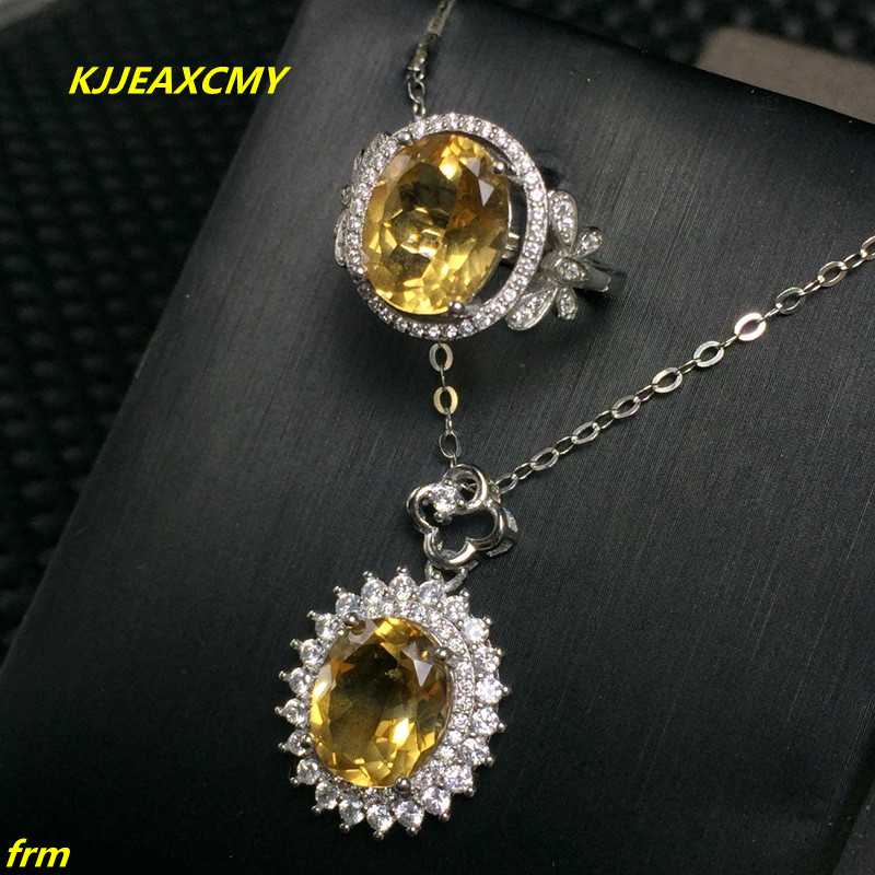 KJJEAXCMY Fine jewelry, 925 Sterling Silver Inlay Large Citrine Citrine Ring Pendant Set