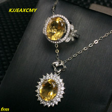 KJJEAXCMY Fine jewelry, 925 Sterling Silver Inlay Large Citrine Citrine Ring Pendant Set gorgeous golden citrine white cz engagement 925 gold silver pendant 26x15mm