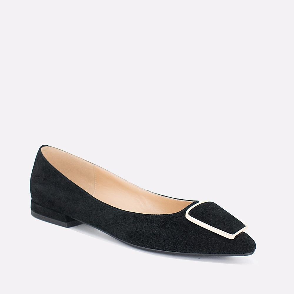 SOPHITINA Genuine   Leather   Fats Black Sheepskin Kid   Suede   Elegant Pointed Toe Woman Shoes Handmade Shallow Fashion Lady Flat P44
