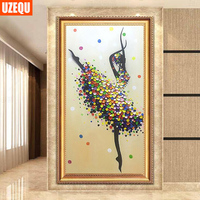 UzeQu 5D DIY Diamond Painting Ballet Fairy Cross Stitch 3D Diamond Embroidery Full Round Diamond Mosaic
