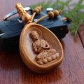 On Sale rosewood carved wishful Lucky Buddha pendant keychain car keys ornaments wholesale DIY accessories charms