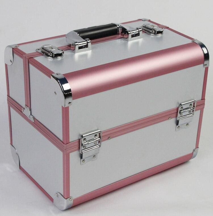 Étui à cosmétiques professionnel 3 couches de couleur blanche et rose de grande taille, boîte de rangement de bijoux et de maquillage pour cadeau de mariage et d'anniversaire