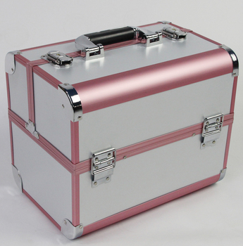 Large Size White and Pink Color 3 layer Professional Cosmetic Case, Jewelry and Makeup Storage Box for Wedding and Birthday Gift
