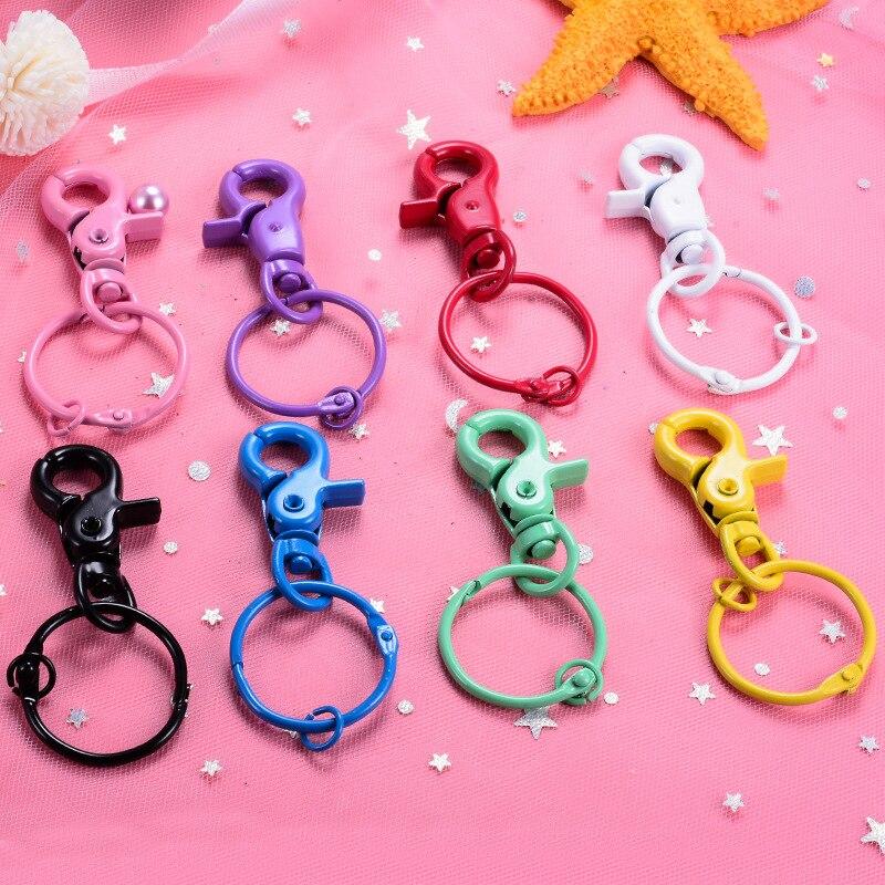 100 Pcs/lot Coloré Émail 28mm Porte-clés Porte-clés Anneau Brisé avec chaîne courte trousseaux de clés Femmes Hommes bricolage porte-clés Accessoires