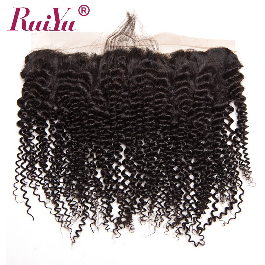 RUIYU Brazilian Kinky Curly Hair Lace Frontal Closure Ear To Ear Pre Plucked Frontal Closure Human