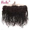 RUIYU Brazilian Kinky Curly Hair Lace Frontal Closure Ear To Ear Pre Plucked Frontal Closure Human Hair With Baby Hair Non-Remy