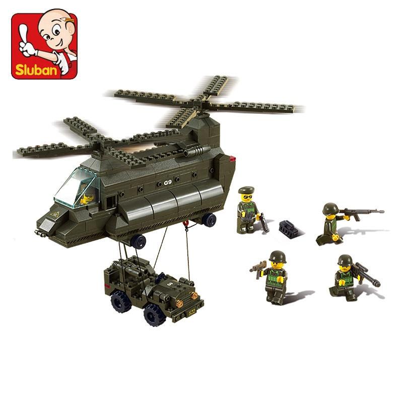 Sluban model building kits compatible with lego city plane 637 3D blocks Educational model building toys