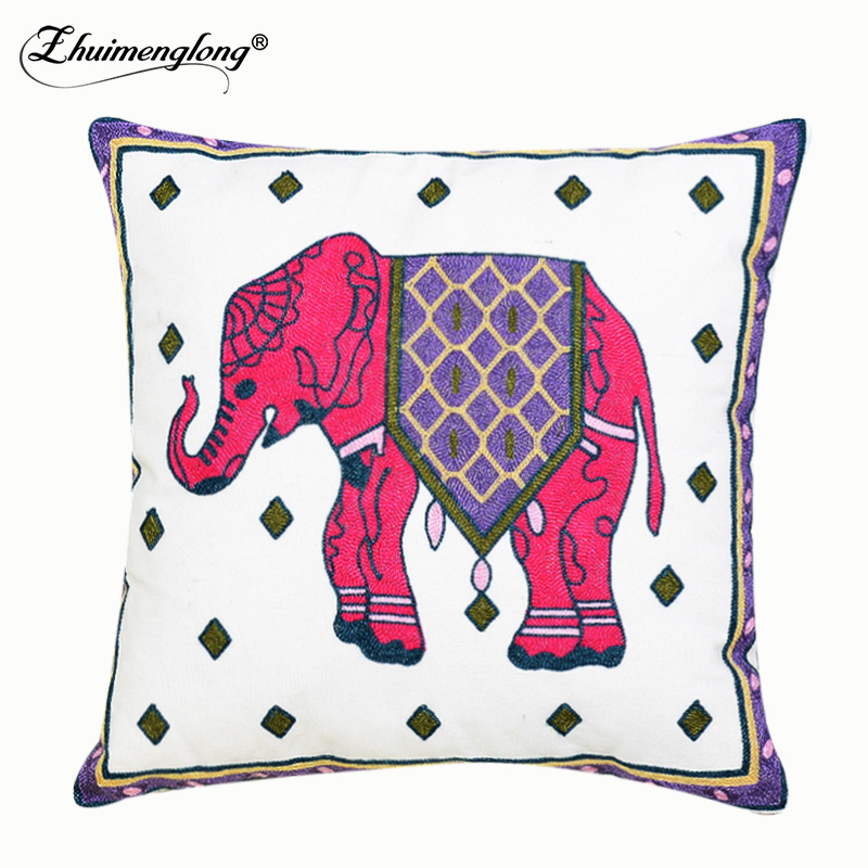 Zhuimenglong Cushions Cover Embroidery Elephant Dragon
