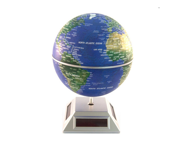 Solar powered auto spinning rotary world globes solar spinning globe solar powered auto spinning rotary world globes solar spinning globe educational world map 55 inch gumiabroncs Gallery