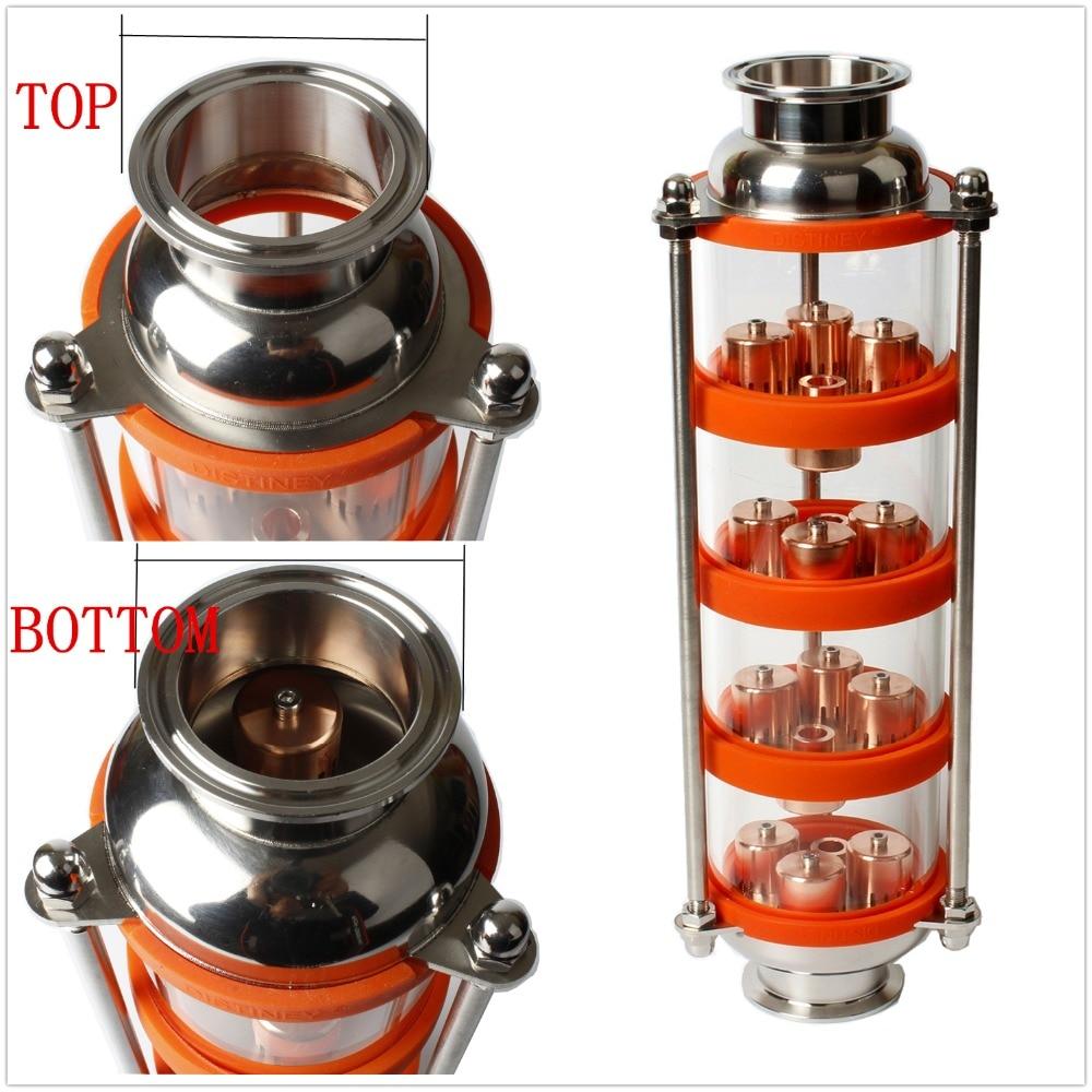 2018 NOUVEAU cuivre bulle colonne de Distillation avec 4 sections pour distillateur colonne de Verre