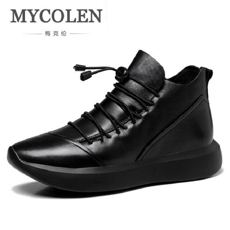 MYCOLEN Footwear Boots For Men Genuine Leather Shoes Men's Winter Ankle Boots Black Brand Martin Boots Shoes Laarzen Dames serene handmade winter warm socks boots fashion british style leather retro tooling ankle men shoes size38 44 snow male footwear