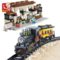 Building Block Sets Compatible with lego Explorers League train station 3D Construction Brick Educational Hobbies Toys for Kids