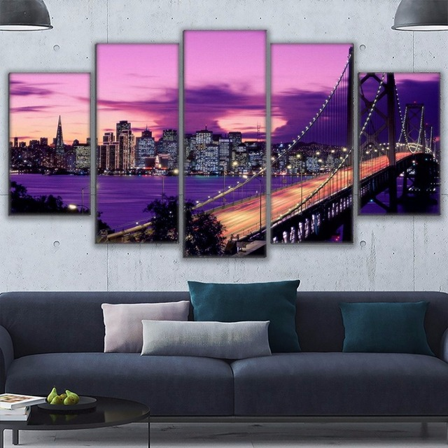5 4 40 De Reduction Impressions Sur Toile Peintures Salon Mur Art Affiches Cadre 5 Pieces Violet Coucher De Soleil San Francisco Pont Photos Decor