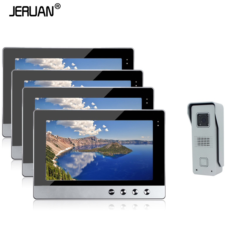 JERUAN Home Security Wired 10 inch Color Video Door Phone speaker Intercom System  + 4 Monitors + 1 Outdoor Camera In Stock brand new wired 7 inch color video door phone intercom doorbell system 1 monitor 1 waterproof outdoor camera in stock free ship