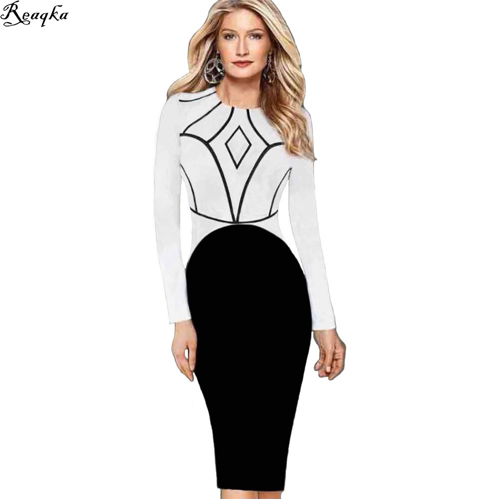 popular career w dress buy cheap career w dress lots from autumn career women work dresses 2016 new colorblock tunic office cotton female full sleeve stretch vintage