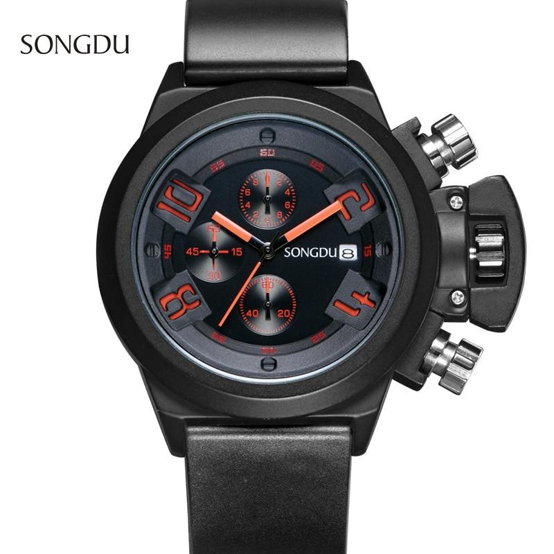 SONGDU fashion casual man Wristwatch simpleThree eyes calendar night light waterproof Silicone strap quartz watch reloj