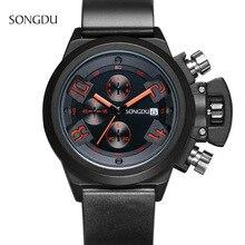 SONGDU fashion casual man Wristwatch simpleThree eyes calendar night light waterproof Silicone strap quartz watch reloj hombre