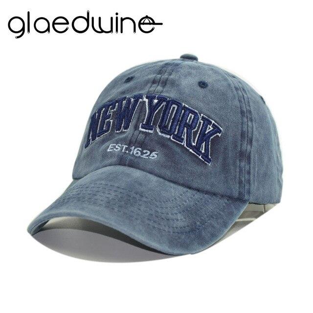 7ca59388fd1 Glaedwine New denim cotton baseball cap hat for women men vintage dad hat  NEW YORK hip