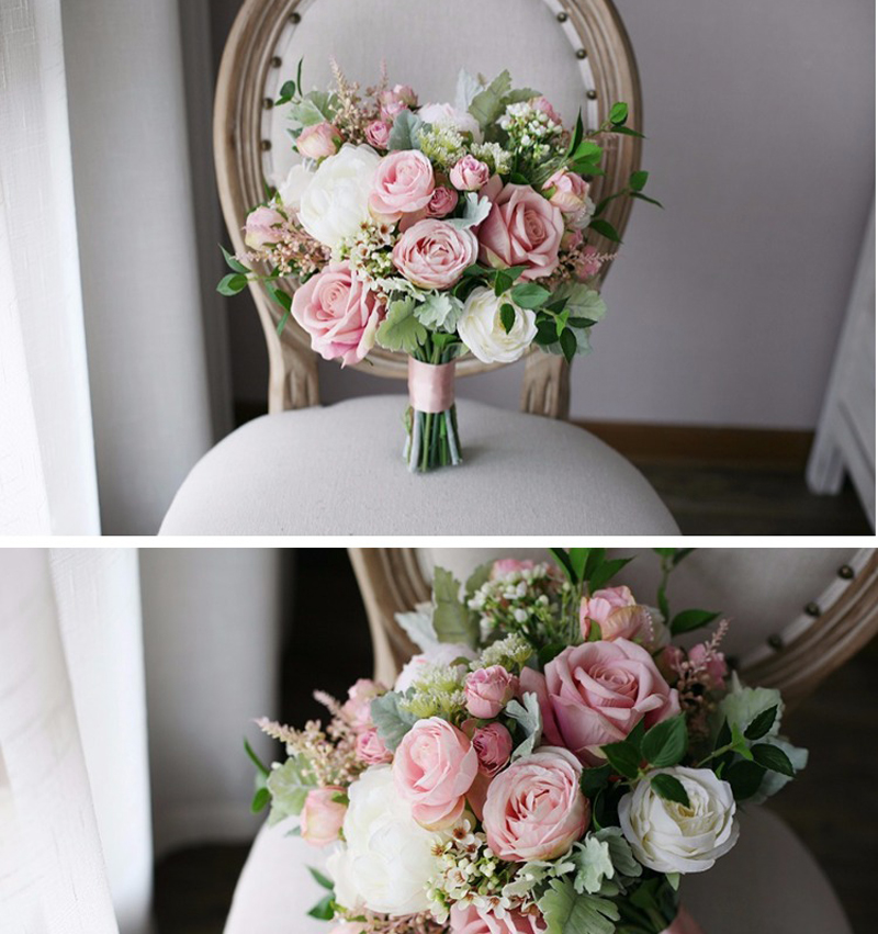 3.4  Classic Smoked Pink Bridal Bouquets 2018 New Elegant Synthetic Holding Flower Bridal  Nation Seashore Wedding ceremony Provides HTB12BlThOMnBKNjSZFzq6A qVXaM