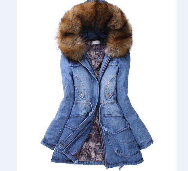 все цены на Free shipping Winter warm hooded Cotton Parkas Fur collar Thick Slim Denim jacket jaqueta feminina Thick Jeans coat 72603 онлайн