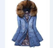 Бесплатная доставка зима теплая с капюшоном хлопковые парки меховым воротником Толстый Тонкий Джинсовая Куртка jaqueta feminina толстые джинсы пальто 72603
