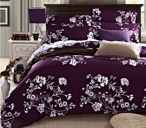 Wholesale High Quality Designer Bedding Set Deep Purple