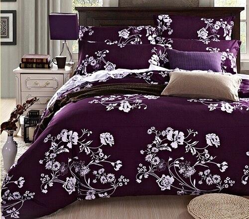 Wholesale High Quality Designer Bedding Set Deep Purple Conforter Set  Blanket Sets Bright Color Comforter Sets