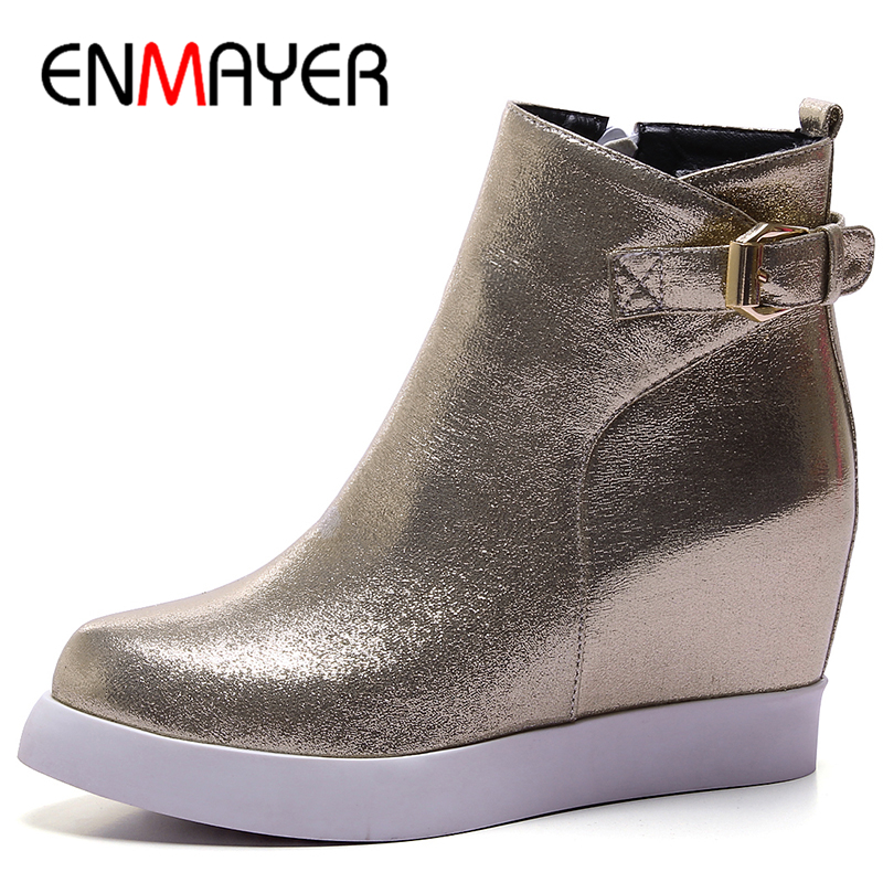 ENMAYER 3 Colors Golden Shoes Woman Buckle Strap Ankle Boots for Women High Heels Platform Winter Round Toe Motorcycle Boots enmayer low heels wedges shoes woman slip on knee high boots for women round toe winter warm boots tassels charms platform shoes