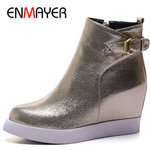 ENMAYER 3 Colors Golden Shoes Woman Buckle Strap Ankle Boots for Women High Heels Platform Winter Round Toe Motorcycle Boots enmayer black motorcycle boots shoes woman square heels round toe lace up spring and autumn high quality ankle boots for women