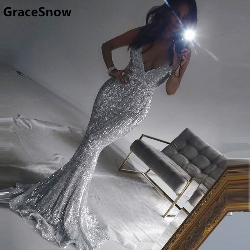 Sexy Silver Sequined Open Back Padded Party Dress Floor Length Silver Sequins Sleeveless Evening Bodycon V Neck Club Vestidos