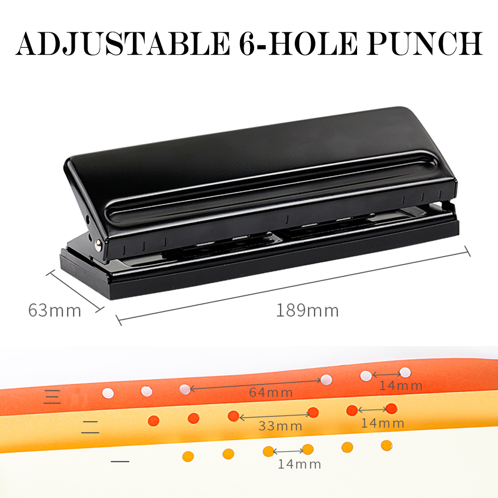 Adjustable 6-Hole Punch 6 holes punch loose-leaf emperorship adjustable diy punch perfurador de papel perforadora locher 5 inch automatic center pin punch spring loaded marking starting holes tool alloy automatic centre punch ng4s