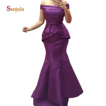 Purple Satin Mermaid Mother of the Bride Dresses Boat Neck Off the Shoulder Long Prom Dress Formal Dress Dinner Gowns D882