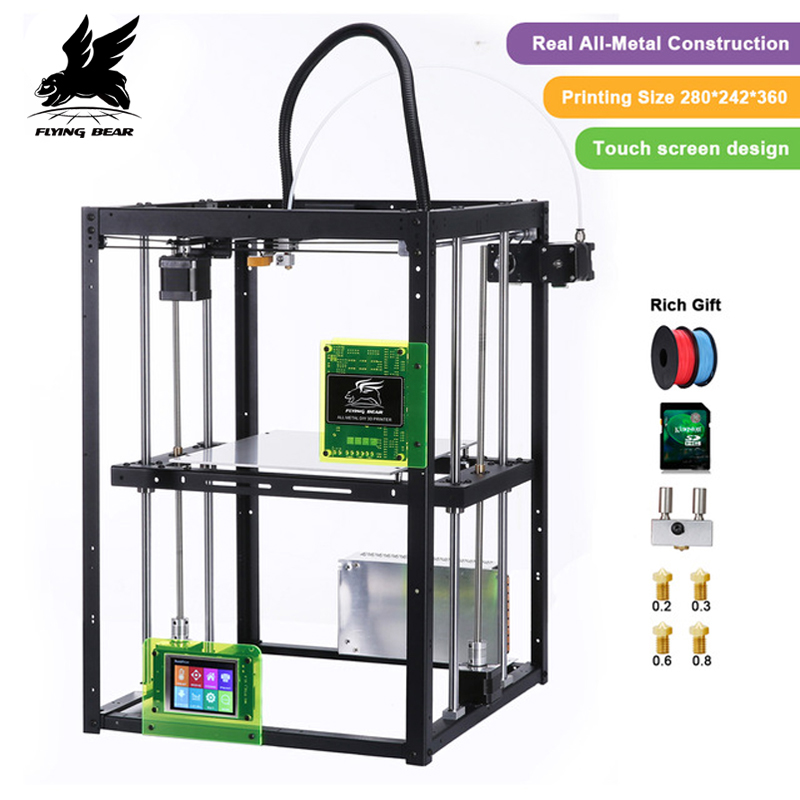 2018 Newest design Free shipping Flyingbear P905X DIY 3d Printer kit Full metal Large printing size High  Makerbot Structure