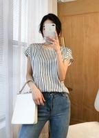 Women Summer 90% Natural Silk Blouse Real Silk short Sleeve Basic Shirt striped casual Top Shirts Silk Blouses for Women
