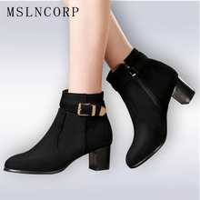 купить Plus Size Fashion 34-45 Spring Autumn Ankle Boots Women Keep Warm Winter Boots Buckle Strap Side Zipper Thick High Heels Shoes по цене 1823.67 рублей