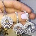 CP01 Lujo Diseñador de Moda Plata de Ley 925 Joyas de Plata/Oro/Oro Rosa Plateado Zirconia Pendiente/Collar/conjunto
