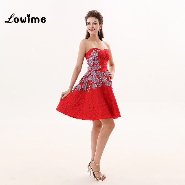 Sexy Cheap Short Red Satin Prom Dress Flower With Stones For ...