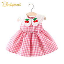 New Summer Baby Dresses Girl Clothes Cotton Plaid Baby Girl Dress Slee