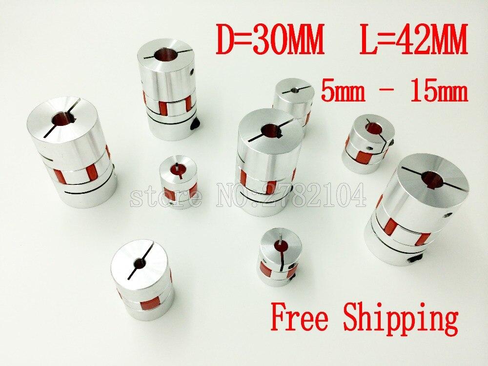 цена на Free shipping 3Pcs8*14mm 5/6/6.35/7/8/9/9.5/10/12/12.7/14/15mm Flexible Plum Shaft Coupling CNC Stepper Motor Coupler D30 L42