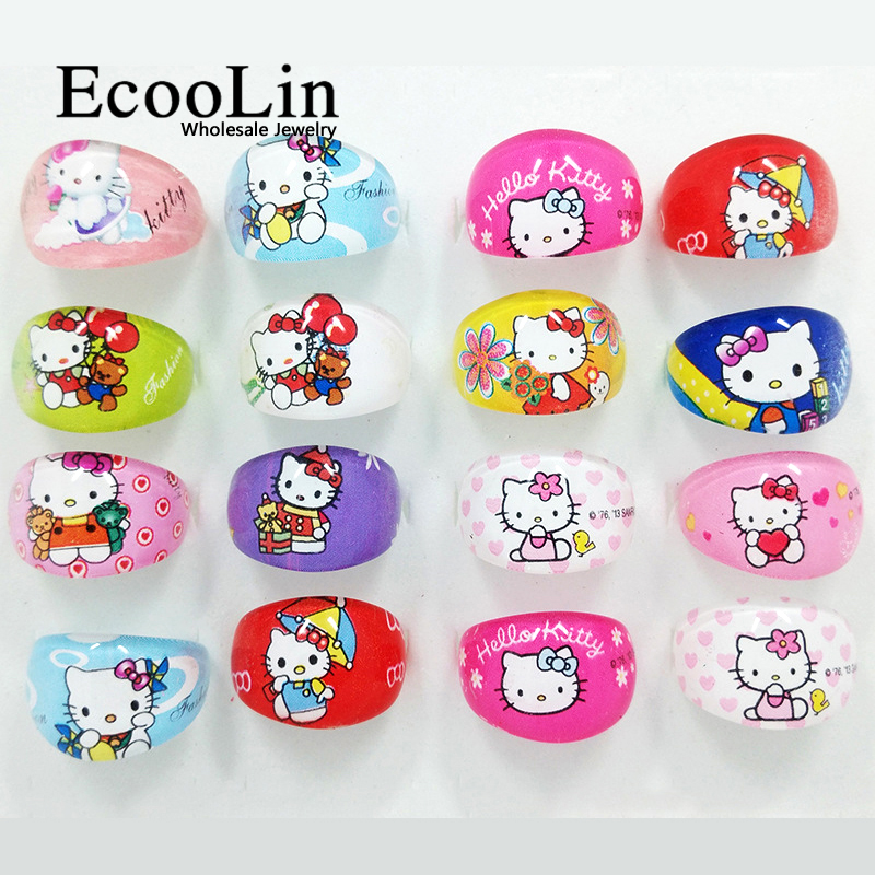 50pcs Hello Kitty Children Ring Animation Cartoon Plastic Resin Plastic Jewelry For Kid Boys Girls Wholesale Jewelry Lots LR401