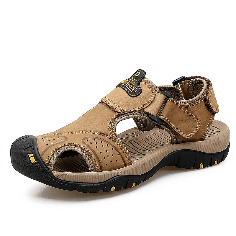 Men Summer Sandals Genuine Leather Casual Shoes Man Roman Style Beach Sandals Brand Men Summer Shoes Big Size 39-46 Slippers